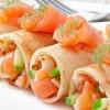 Pancakes with salmon