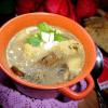"Mushroom soup with ""halushki"""